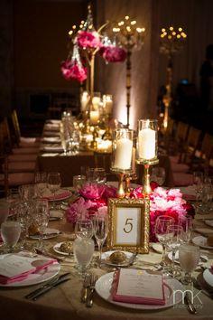 Beautiful Blooms - Ritz Carlton Philadelphia Pink and Gold Wedding Pillar Candle Wreath Centerpiece
