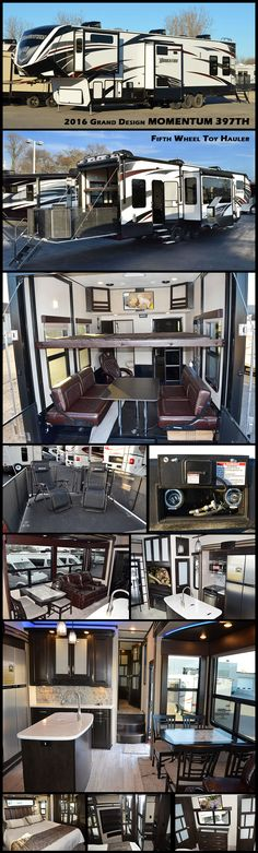 """Enjoy every adventure with family and friends in this 2016 GRAND DESIGN MOMENTUM toy hauler fifth wheel. This 397TH model offers a 12' 6"""" garage space for your toys, sleeping for up to 8, and two full baths, plus more! The 2,500 lb. tie downs will keep everything secure as you travel. There is a twin loft above the front of the cargo garage that the kids will surely love, and a full bath off the garage space will make it easy to keep all the dirt and grim out of the main living area."""