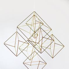 Large Brass Himmeli / Modern Hanging Mobile / Geometric by HRUSKAA