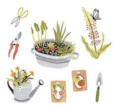 Garden illustrations for Libelle magazine by Sanny van Loon | plants | garden tools | flowers  www.sannyvanloon.com