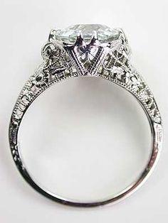 Vintage Filigree Aquamarine Engagment Ring