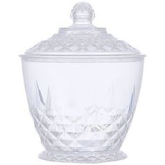 Crystal-Cut Clear Plastic Candy Dish with Lid