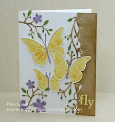 Floating Butterflies, Bursting Berry Vine and Blushing Flower Branch.by the Memory Box Design Team Memory Box Cards, Memory Box Dies, Butterfly Stencil, Butterfly Cards, Butterfly Background, Fb Background, Copic Sketch Markers, Handmade Card Making, Flower Branch