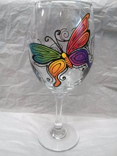Colorful Rainbow Butterfly Hand Painted Wine Glass