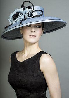 RACHEL TREVOR-MORGAN - Fine straw powder blue hat with blue and black silk roses