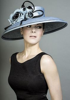 Rachel Trevor-Morgan millinery - Fine straw powder blue hat with blue and black silk roses. #passion4hats