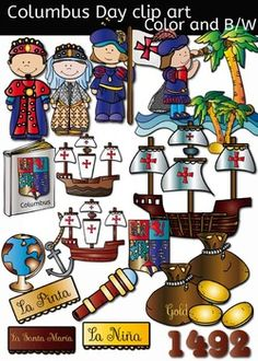 Columbus Day clip art set features:  ► 23 clip arts in both color. ► 22 clip arts, black & white.  for a total of 45 files in png. All images are 300dpi.