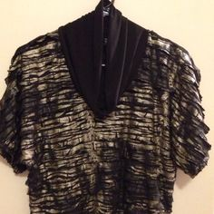 """Fantastic Rocker Style Artsy Top! One of a Kind Fantastic """"Rock Star"""" Feeling Top! One of a Kind! Too hard to put in words, but I'll try! This black top has """"waves of ruffles"""" that flutter back and forth from Gold to Black! SO COOL! from New Directions! (Size Medium) New Directions Tops"""