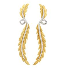 Pair of Two-Color Gold and Diamond Leaf Pendant-Earrings