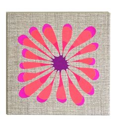 """Embroidered Artwork, Wall Hanging - """"Flower Pop"""""""