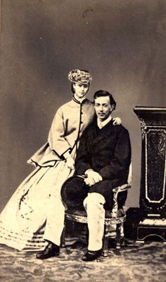 Crown Prince Nikolai of Russia with his finance Princess Dagmar (later Empress Marie Feodorvna of Russia), shortly before his death. When he died, she married his younger brother, Alexander III. Their children included Czar Nicholas II who was murdered with his young family in 1918.