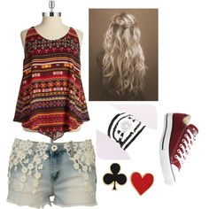 simple by nessaaaps04 on Polyvore featuring polyvore, fashion, style, Harper & Liv, Converse and Alison Lou