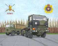 "A British Terratorial Army Regiment eight wheel drive DAF general transport vehicle with a four wheel drive ""Bedford"" in the background. Medium: acrylic on 18"" x 24"" watercolor paper."
