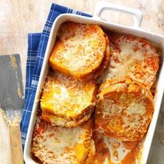 Grilled Cheese & Tomato Soup Bake Recipe -This casserole brings together two classic comfort foods—grilled cheese sandwiches and tomato soup.