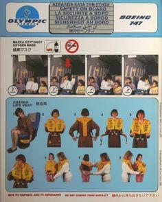 Olympic Airways Safety Card Boeing B747-200