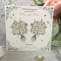 Congratulations to The New Mrs and Mrs - Bouquets, Handfinished Wedding Card with Crystals Wedding Cards, Wedding Day, Office Branding, Stoke On Trent, Bouquets, Butterflies, Envelope, Congratulations, Hearts