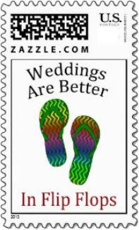 Two vibrantly multi-colored flip flops are centered between the text