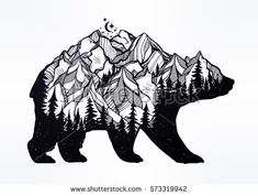 stock-vector-decorative-double-exposure-bear-with-nature-pine-forest-rocky-mountain-landscape-range-and-moon-573319942.jpg (450×341)