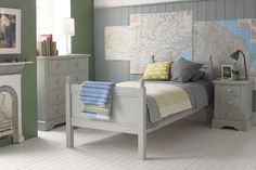 Little Folks Furniture - Fargo Single Bed - Colour Options Available, The Little Folks Furniture Fargo Single Bed is made in a timeless classic style finished in 3 wonderful paint finishes to include Farleigh Grey, Painwick Blue and Ivory W Childrens Single Beds, Kids Single Beds, White Wooden Bed, Junior Bed, Cot Bedding, Bed Styling, Kids Bedroom, Kids Rooms, Bedroom Ideas