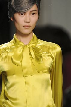Jean Paul Gaultier at Paris Fashion Week Fall 2011 - Details Runway Photos Fashion 2020, Paris Fashion, Chartreuse Color, Bow Blouse, Satin Blouses, Jean Paul Gaultier, My Favorite Color, Silk Satin, Ruffles