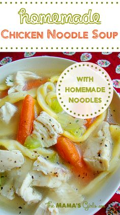 Homemade Chicken Noodle Soup (with Homemade Noodles) on MyRecipeMagic.com is the perfect soup for the whole family! #chicken #soup #homemade