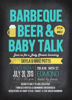 Items similar to BBQ Baby Shower- BBQ Beer and Baby Talk Theme Party, Gender Reveal, Baby Shower, Invitation, Barbecue on Etsy Baby Shower Gender Reveal, Baby Gender, Adoption Shower, Adoption Party, Shower Bebe, Man Shower, Baby Shower Invitations, Invitation Birthday, Invite