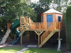 Backyard Garden Playhouse With Spiral Slide : Outdoor Garden Playhouse For Kids #gardenplayhouse