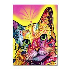'Tilt Cat' by Dean Russo Painting Print on Canvas