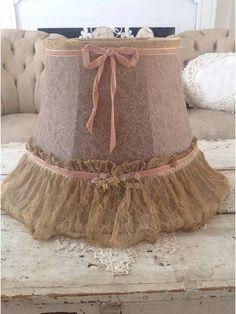 Antique Pink Lace Boudoir Lampshade