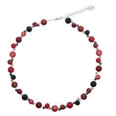 Halskette aus echten Polarisperlen ca. 45 cm + 4.5 cm PKS1013 mit Swarovski Elements bordeaux schwarz