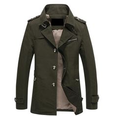 Spring and autumn jacket men fashion casual cotton coat black khaki and army green outerwear free shipping