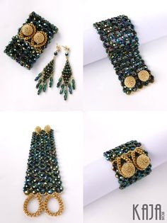 Cuffby Karolína Emingrová (Kaja Bijoux) - beadwoven with firepolished crystals and seedbeads