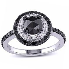 1 1/2 Ct Black And White Natural Diamond Double Frame Ring In 10K White Gold # Free Stud Earrings by JewelryHub on Opensky