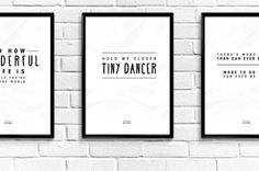 Black and White Inspiring Elton John Pop Culture Song Lyric Quote Posters Set of 4 Digital Download PDF Files - Modern, Typography Decor