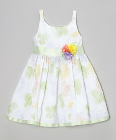 Love this Sweet Heart Rose White Leaf Rosette A-Line Dress - Toddler & Girls by Sweet Heart Rose on #zulily! #zulilyfinds