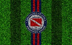 Download wallpapers Argentinos Juniors, 4k, football lawn, logo, Argentinian football club, grass texture, red blue lines, Superliga, Buenos Aires, Argentina, football, Argentine Primera Division, Superleague
