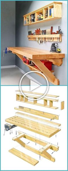 Palettenholz mit Ideen - Ellise M. - Palettenholz mit Ideen – Palettenholz mit Ideen – Ellise M. Garage Workbench Plans, Diy Workbench, Woodworking Bench Plans, Woodworking Furniture, Mobile Workbench, Folding Workbench, Workbench Organization, Small Workbench, Industrial Workbench