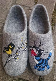 Купить домашние валяные тапочки из натуральной шерсти Весна - серый, тапочки, Тапочки ручной работы