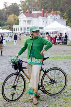 Advanced Style star Tziporah Salamon with a bamboo bike at the Gatsby Summer Afternoon picnic.