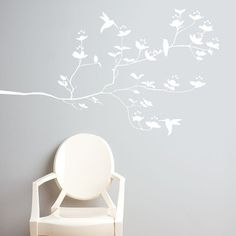 Birds & Buds Decal White now featured on Fab.
