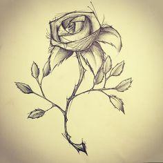 #rose  #flower #sketch #drawing #ballpoint #ballpointpen #pen #thorns #petals #leaves #stem #love #beauty #bloom #illustrator #illustration #art #artist