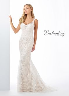 Enchanting By Mon Cheri 119120 - Truly one-of-a-kind, fit and flare gown offers illusion lace straps, a curved V-neckline, a unique illusion and lace geometrical back detail, Mon Cheri Wedding Dresses, Mon Cheri Bridal, Bridal Gowns, Wedding Gowns, Enchanted Bridal, Bridesmaid Dresses, Prom Dresses, Bride Dresses, Affordable Wedding Dresses