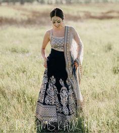 Love this black silver heavy embroidered wedding lehenga. Click on picture to see lehenga price. #Frugal2Fab Brocade Lehenga, Black Lehenga, Choli Dress, Ghagra Choli, Bridal Lehenga, Saree Wedding, Mehndi Outfit, Choli Designs, Lehenga Designs