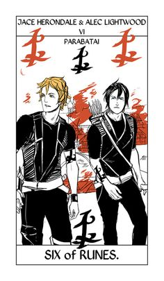 Cassandra Clare shared a new tarot card from Cassandra Jean's Shadowhunter tarot card collection, which features the parabatai Jace Herondale and Alec Lightwood. What do you think of the latest tarot card? Alec Lightwood, Jace Wayland, Cassandra Clare Bücher, Livros Cassandra Clare, Magnus E Alec, Alec And Jace, The Mortal Instruments, Immortal Instruments, Clary Et Jace