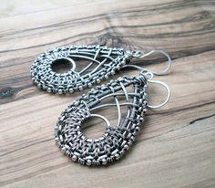 Wire Wrapped Earrings - Boho Earrings - Statement Earrings - Woven Wire Jewellery - Unusual Jewellery - Big Earrings - Wire wrap jewelry