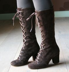 lace up suede boots.