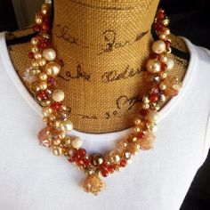 Pearl Statement Necklace, Bold Chunky Necklace, Collar, Bib Necklace, Gift for Her