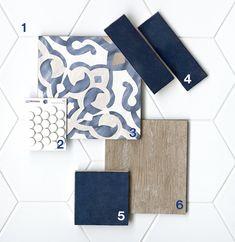 Pantone's Color of the Year: Classic Blue Küchen Design, House Design, Tile Design, Interior Design Boards, Mood Board Interior, Furniture Design, Master Bath Remodel, Master Bath Tile, Blue Tiles