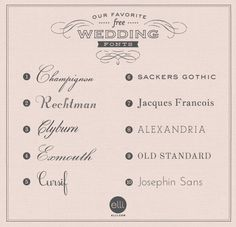 Free: 10 Options for Stylish, Classic Wedding Stationery Fonts