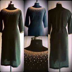 - Linen Cotton Kurti with Bead Work, Price Salwar Designs, Kurti Neck Designs, Dress Neck Designs, Blouse Designs, Anarkali Dress, Pakistani Dresses, Salwar Pattern, Party Kleidung, Blouse Dress